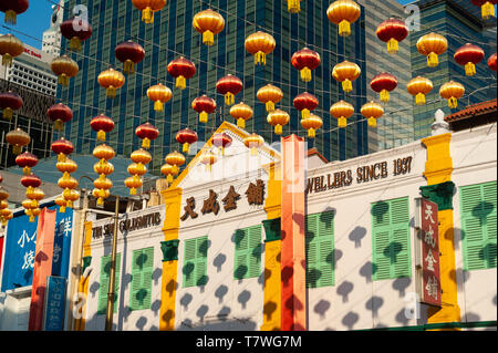 15.03.2019, Singapore, Republic of Singapore, Asia - Annual street decoration with lanterns along South Bridge Road for the Chinese Lunar New Year. - Stock Photo