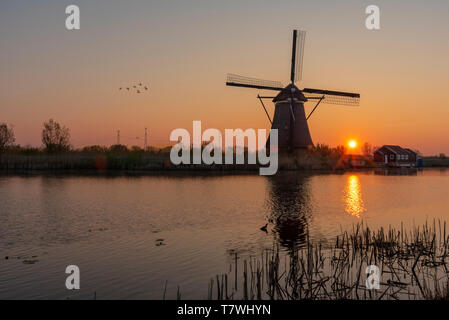 Sunrise on the alignment of windmills reflected on the calm water in the long canal - Stock Photo