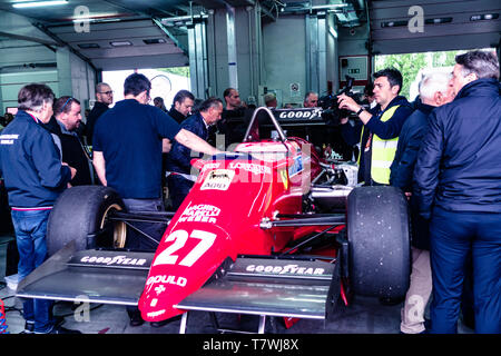Vintage Ferrari is showed during the Historic Minardi Day - Stock Photo