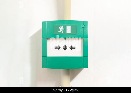 Emergency button, safety button to disable and to open the safety door in case of emergency escape from fire - Stock Photo