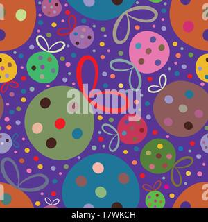 Vibrant fun multicolor Christmas baubles on purple dotted background. Seamless vector tossed repeat pattern. Great for christmas projects, giftwrap - Stock Photo