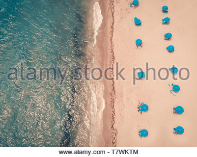 Public Beach in sunny weekday on Deerfield Bech, Florida, aerial view - Stock Photo