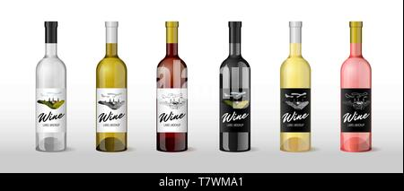 Wine realistic 3D bottle with hand-drawn label retro vintage design template set. Alcohol industry vineyard wine grapes hills farm emblem. Monochrome  - Stock Photo