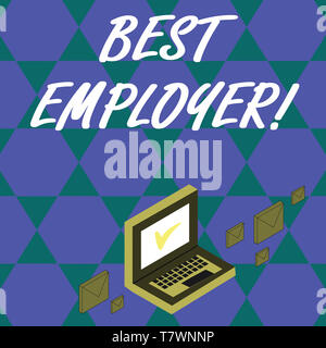Handwriting text Best Employer. Conceptual photo creating a culture where employees feel valued and appreciated Color Mail Envelopes around Laptop wit - Stock Photo