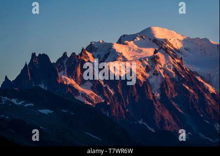 France, Haute-Savoie, Le Tour, Tour du Mt Blanc, sunset on Mont Blanc and Chamonix needles, from col de Balme - Stock Photo