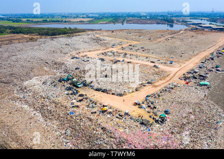 Aerial view of large landfill. Waste Garbage dump. - Stock Photo