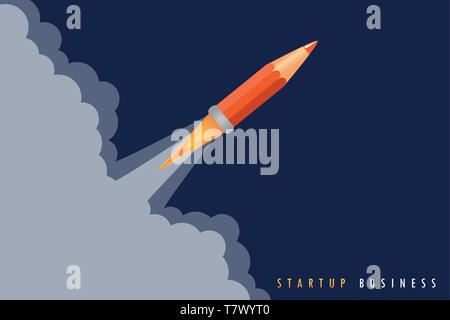 startup business concept with pencil rocket launch vector illustration EPS10 - Stock Photo