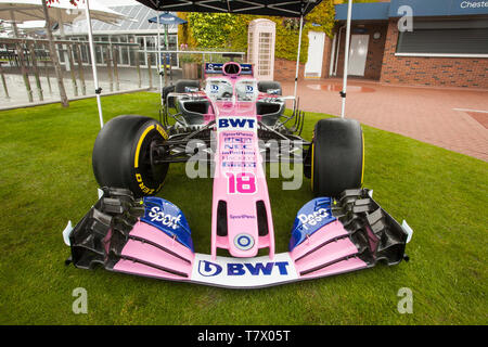 Lance Stroll Racing Point-BWT Mercedes. Pink Car number,18 on display in Chester Race course, UK - Stock Photo