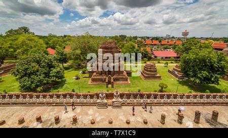 Panorama view from the summit of buddhist temple of Wat Yai Chai Mongkhon in Ayutthaya, Northern Bangkok, Thailand - Stock Photo