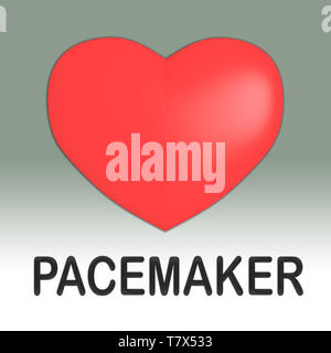 3D illustration of PACEMAKER title under a red heart, isolated on gray gradient. - Stock Photo