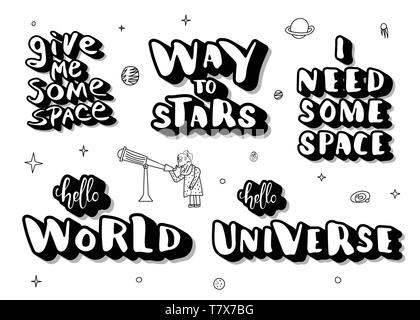 Set of handwritten space quotes with decoration  Galaxy