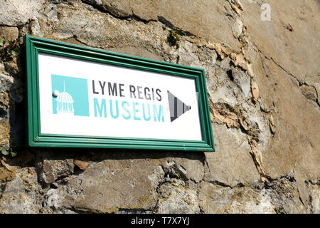 Lyme Regis, Dorset, Signage for the Lyme Regis Museum on stone wall, 2019 - Stock Photo