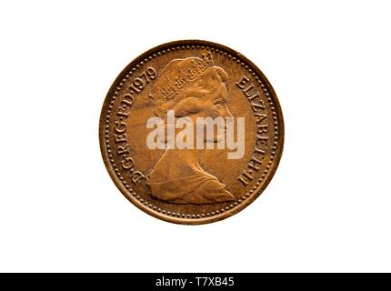 British half penny coin 1979,close up,macro,white background, - Stock Photo