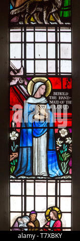 Blessed Virgin Mary detail from stained glass window by Margaret Edith Aldrich Rope ( 1891-1988), Church of Saint Margaret, Leiston, Suffolk, England, - Stock Photo
