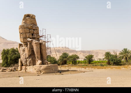 Ancient statues of Colossi on the west bank of the Nile, Luxor, Egypt - Stock Photo