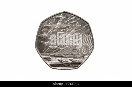 1994, 50p piece, battle of britain,fifty pence coin, - Stock Photo