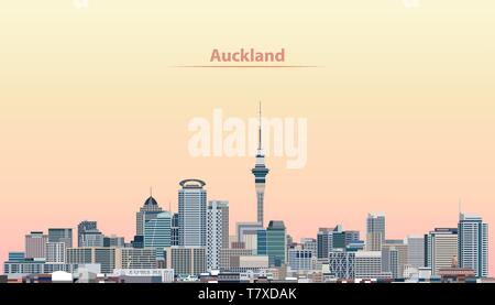 vector illustration of Auckland city skyline at sunrise - Stock Photo