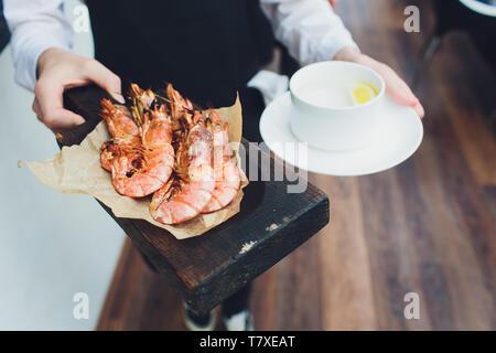 Grilled shrimp skewers. Seafood, shellfish Shrimps Prawns - Stock Photo