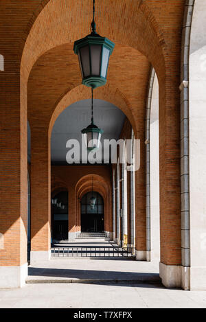 Madrid, Spain - May 1, 2019: Nuevos Ministerios is a government complex in central Madrid. The original project was designed by architect Secundino Zu - Stock Photo