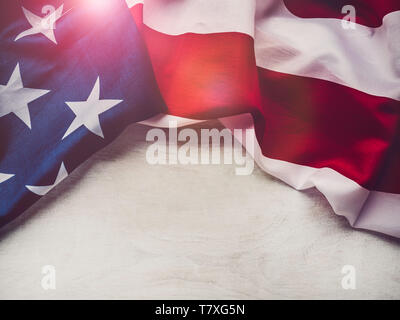 American flag on a white, isolated background - Stock Photo