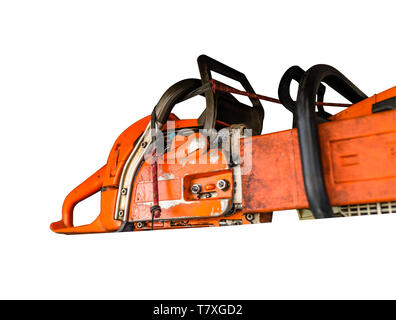 Orange chain saw with a secured blade isolated on a white background with a clipping path. - Stock Photo