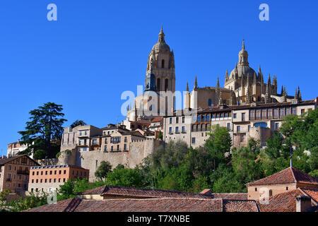 Segovia Cathedral, Santa Iglesia Catedral de Nuestra Señora de la Asunción y de San Frutos, Catedral de Segovia, Castilla y León, Spain - Stock Photo