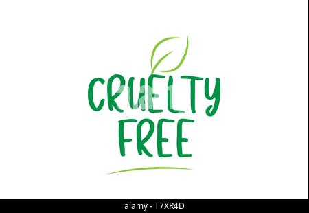 cruelty free green word text with leaf suitable for icon, badge or typography logo design - Stock Photo
