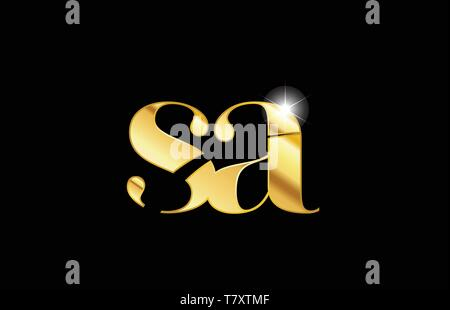 gold golden metal metallic alphabet letter sa s a logo icon design for a company or business - Stock Photo