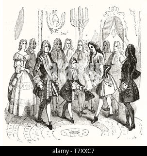 Group of XVII century noble men in a elegant hall. Louis XV of France welcomes Peter the Great of Russia aged seven years. After 1718 print publ. on Magasin Pittoresque Paris 1848 - Stock Photo