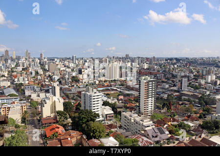 Caxias do Sul, state of Rio Grande do Sul, Brazil. Aerial image of the urban center of the city, streets, buildings, houses. Urban life. - Stock Photo