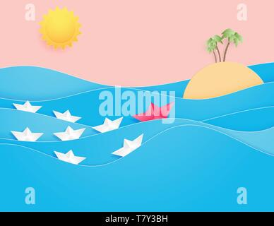 Ocean water wave with origami made sailing boat floating on the sea and sun paper cut style. Leadership recruitment and talent headhunting concept. - Stock Photo