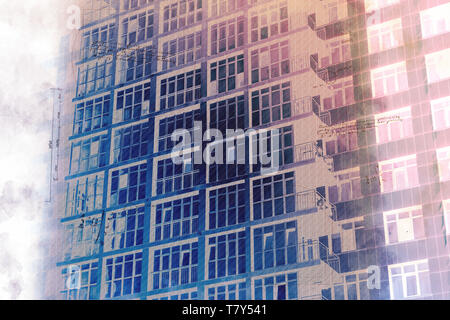Illustration of a sketch of a building in the style of constructivism. Industrial high-rise multi-storey building. Project draft multi-storey resident - Stock Photo