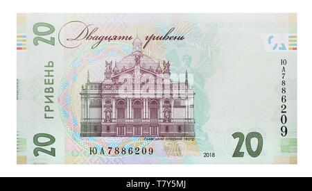 New note 20 Ukrainian hryvnia - backside, sample 2018 - Stock Photo