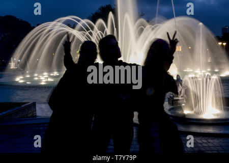 A fountain of the Magic water circuit, at the Park of the Reserve - Stock Photo