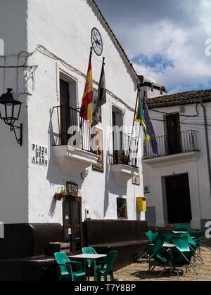 Plaza del Alamo,Castaño del Robledo, Sierra de Aracena, Heulva province, Andalucia,Spain - Stock Photo