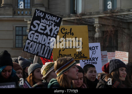 BERLIN, GERMANY - January 19, 2019:  Hundreds of women are protesting for equal rights and opportunities at the annual 'Women's March', a global movem - Stock Photo