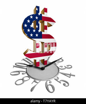Golden dollar sign/symbol with U.S. flag on a clock isolated in white background - Stock Photo