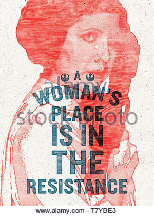 """A Woman's Place is in the Resistance"" 2017 iconic women's rights protest poster designed by graphic designer and artist Hayley Gilmore for the Women's March on Washington on 21 January 2017. See description for more information. - Stock Photo"