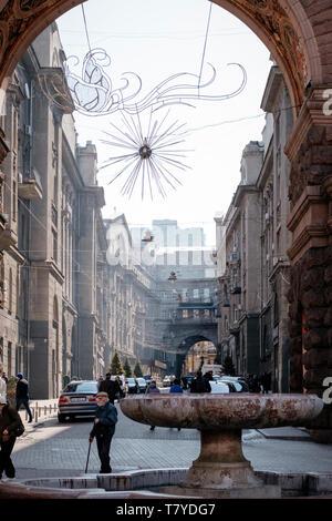 Architecture on Khreshchatyk Avenue, Kiev/Ukraine - Stock Photo