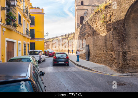 Seville Macarena barrio facades and inner streets in Sevilla Spain - Stock Photo