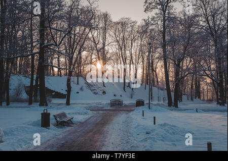 Path in a beautiful city park. Frozen park in winter under snow. The sun's rays break through the branches of a trees. Riga. Latvia. - Stock Photo