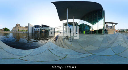 Berlin - river Spree, Marie-Elisabeth-Lüders-Haus, Paul Lobe Haus and Reichstag, German government buildings at 360 degree spherical panorama. - Stock Photo