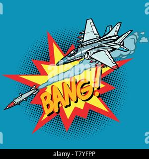 military aircraft attacked by missile, army air force. Comic cartoon pop art vector retro vintage drawing - Stock Photo