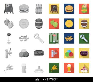 Pub, interior and equipment mono,flat icons in set collection for design. Alcohol and food vector symbol stock  illustration. - Stock Photo
