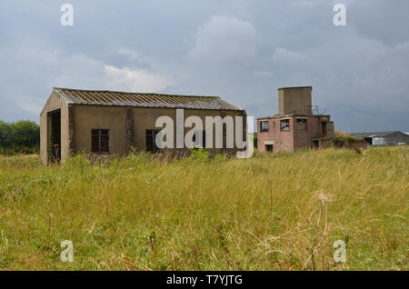 RAF Tholthorpe, fire tender shed and control tower - Stock Photo