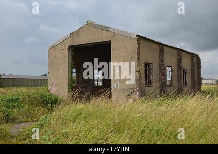 RAF Tholthorpe fire tender shed, ww2 military airfield - Stock Photo