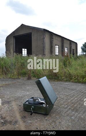 RAF Tholthorpe, gramophone front of the fire tender shed, ww2 military airfield - Stock Photo