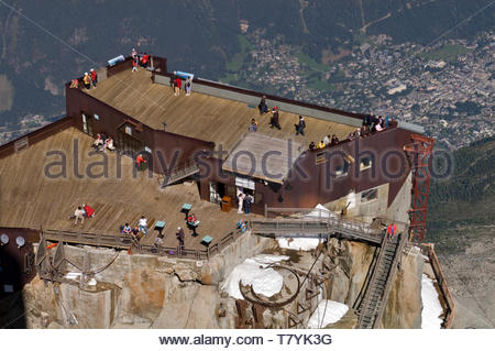 Aiguille du Midi northern panoramic viewing platform, Chamonix, France - Stock Photo