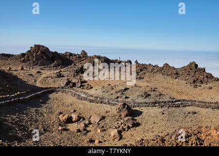 Mars like landscape of the volcano Teide Las Canadas Caldera with hardened lava, at sunset, Teide National Park, Tenerife, Spain. - Stock Photo