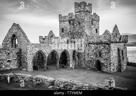 Cathedral of St German in the 11th century Viking built Peel Castle, Peel, Isle of Man - Stock Photo